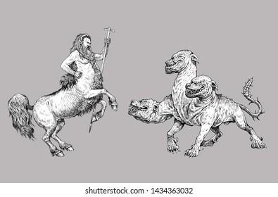 Monster illustration. Multi headed dog Cerberus and Centaur comparison. Fantasy drawing.