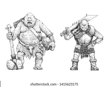 Monster illustration. Troll and Orc anatomy comparison. Fantasy drawing.