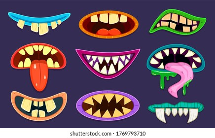 Monster mouth. Cute scary goblin, gremlin and aliens mouths with tongue and teeth. Halloween trolls caricature cartoon cool creature set