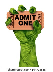 Monster movies with a zombie hand holding a cinema or theater ticket stub as a creepy halloween or scary entertainment symbol with textured green skin and stitches isolated on a white background.