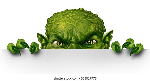 Monster peeking behind a blank white sign as an angry creepy green zombie mutant hiding and peeping behind a billboard as a halloween message concept in a 3D illustration style.