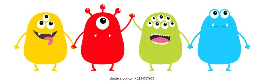 Monster set holding hands. Cute cartoon colorful scary character. Eyes, tongue. Funny baby collection. Happy Halloween card. White background Isolated. Happy Flat design.