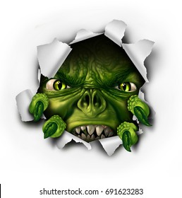 Monster tearing paper with sharp claws bursting out of ripped hole as a scary dangerous evil zombie or threatening demon creature as a halloween element with 3D illustration elements.