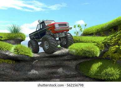 Monster truck on top of a cliff. 3d image