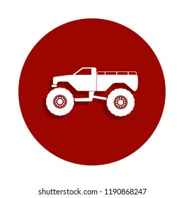monster trucks icon in badge style. One of Monster trucks collection icon can be used for UI, UX on white background