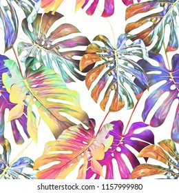 Monstera leaves seamless pattern. Watercolor background. Hand painted illustration.
