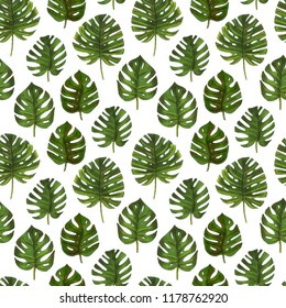 monstera leaves, tropical print. seamless pattern on a white background for wedding, package design, fabric and fashion.