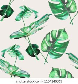 Monstera leaves watercolor illustration pattern