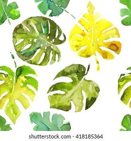 Monstera palm leaves watercolor seamless pattern