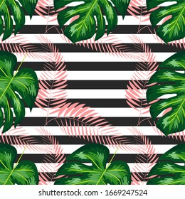 Monstera Pattern. Summer Design for Swimwear. Exotic Palm Greenery Backdrop. Monstera Seamless Pattern.