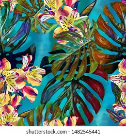 Monstera seamless pattern with orchids. Watercolor illustration, hand colored floral art.