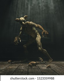 Monster's house,this monster is mutated from lizard and mouse,experiment gone wrong reborn a new horror,3d illustration