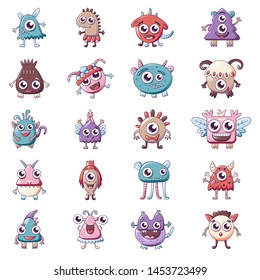 Monsters icons set. Cartoon set of monsters icons for web design