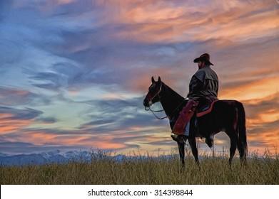 Imágenes, fotos de stock y vectores sobre Cowboy Sunset Sky