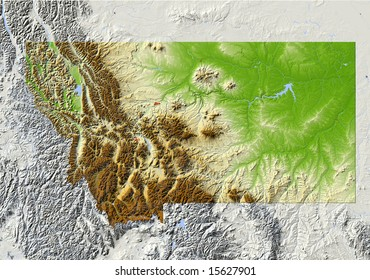 Montana. Shaded relief map, with major urban areas and rivers, surrounding territory greyed out. Colored according to elevation. Clipping path for the state area included. Data source: NASA