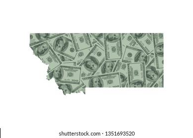 Montana State Map and Money Concept, Hundred Dollar Bills
