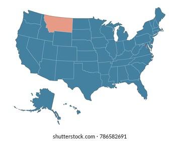 Montana state - Map of USA