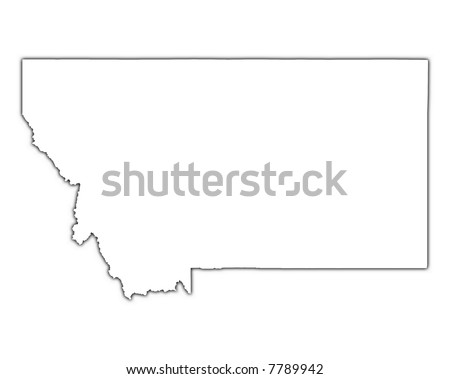 montana usa outline map shadow detailed stock illustration 7789942