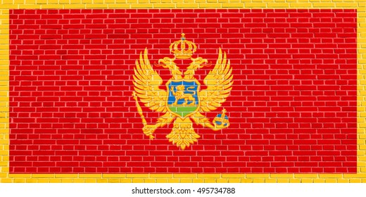 Montenegrin national official flag. Patriotic symbol, banner, element, background. Accurate dimensions. Correct size, colors. Flag of Montenegro on brick wall texture background