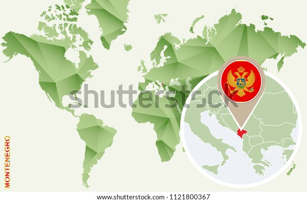 Montenegro, detailed map of Montenegro with flag. Raster copy.