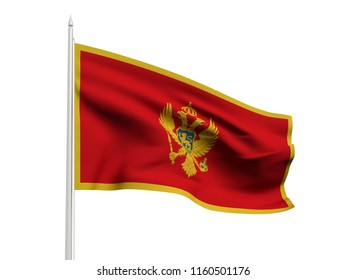 Montenegro flag floating in the wind with a White sky background. 3D illustration.