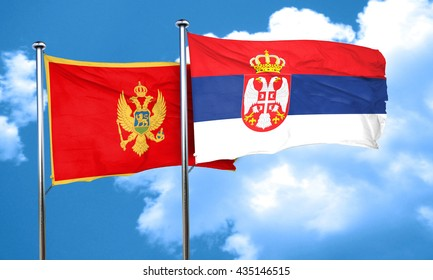 Montenegro flag with Serbia flag, 3D rendering