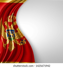 Montenegro flag of silk with copyspace for your text or images and White background-3D illustration