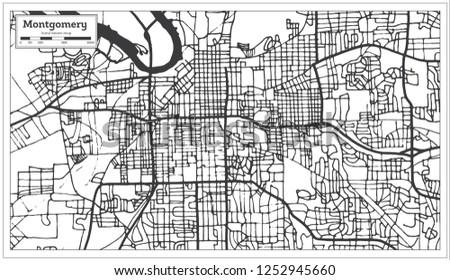 Montgomery Alabama USA City Map Retro Stock Illustration 1252945660 ...