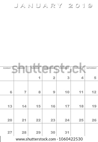 Month January 2019 Calendar Template Background Stock Illustration