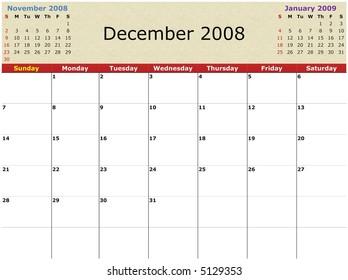 November 2008 Calendar Images Stock Photos Vectors Shutterstock