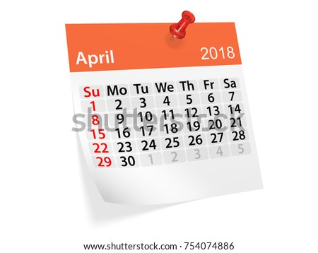 monthly pinned note calendar for april 2018 3d illustration