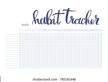 Monthly planner habit tracker blank template