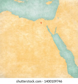 Monufia Governorate on the map of Egypt in soft grunge and vintage style, like old paper with watercolor painting.