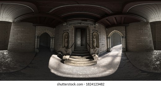 Monumental entrance with ancient wooden gothic doorway with sculptures, Stereographic image, pano 360 vr, 3d rendering, 3d illustration