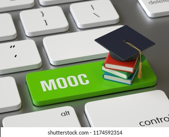 Mooc key on the keyboard, 3d rendering,conceptual image