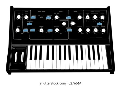 moog synth with clipping path