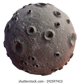 Moon 3d on a white background. Lunar craters and bumps. 3D image of the full moon. Isolated