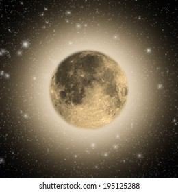 Moon among thousands stars in deep space.