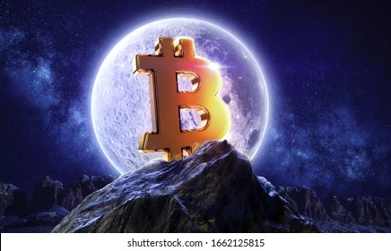 Moon bitcoin live. btc price double investment. Moonlight space logo with mountain shine. 3d rendering