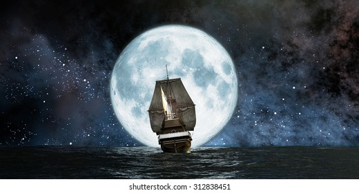 moon, boat and reflection in the water