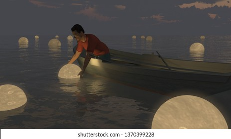 Moon catcher. Man in a boat. 3D rendering