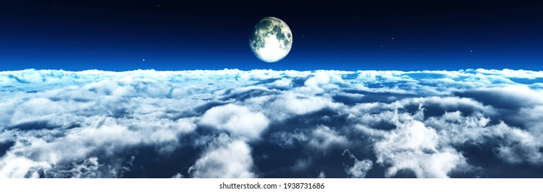 Moon and clouds, cloudy landscape with the moon, moonrise above the clouds, clouds top view, 3d rendering