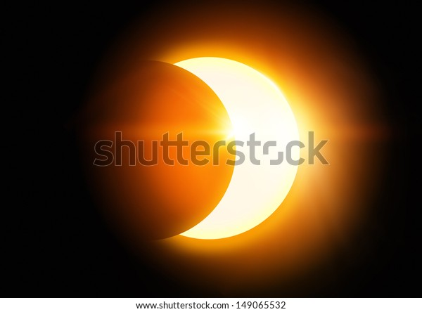 The Moon covering the Sun in a partial eclipse.