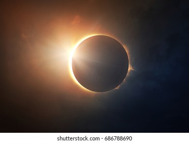 The moon covers the sun in a beautiful solar eclipse. Digital illustration