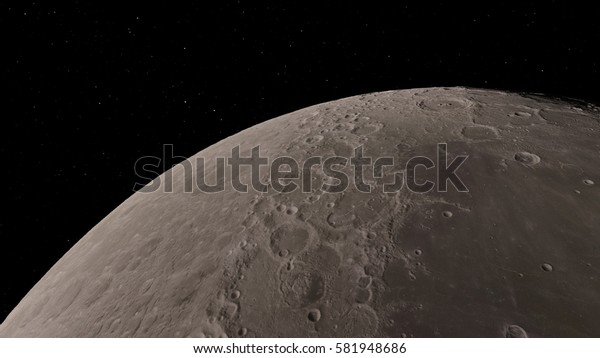 Moon and craters 3D illustration (Elements of this image furnished by NASA)