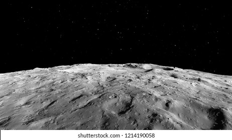 Moon and craters 3D illustration. Space science image. Astronomy. (Elements of this image furnished by NASA)