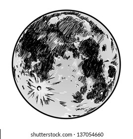 moon drawing on white background