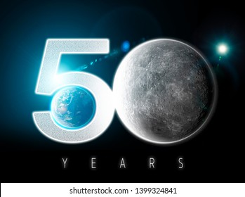 Moon and earth seen from space. Lunar surface and earth in the background. 50th anniversary of the lunar landing. Elements of this image are furnished by Nasa. 3d rendering