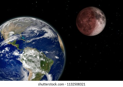 Moon eclipse. Elements of this image furnished by NASA.  3d rendering illustration