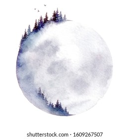 Moon forest. A watercolor illustration isolated on a white background.